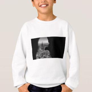 Black and White Pensive Woman City Silhouette Sweatshirt