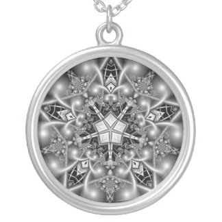 Black and White Pentagram Star Round Pendant Necklace
