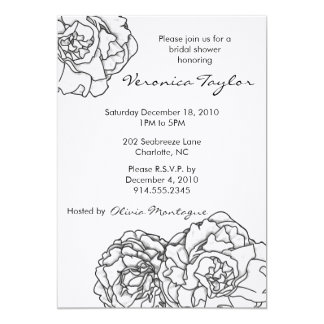 Black and White Peony Bridal Shower Invitation