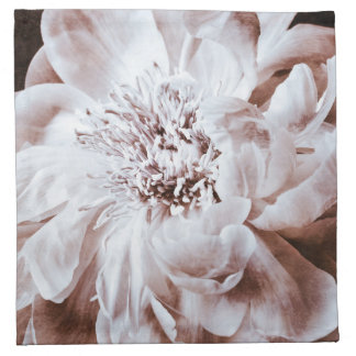 Black And White Peony Flower Sepia Peonies Floral Printed Napkins