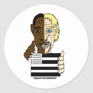 Black and White People Uniting Classic Round Sticker