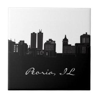Black and White Peoria, Illinois Skyline Small Square Tile