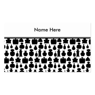 Black and White Perfume Bottle Pattern. Business Card Template