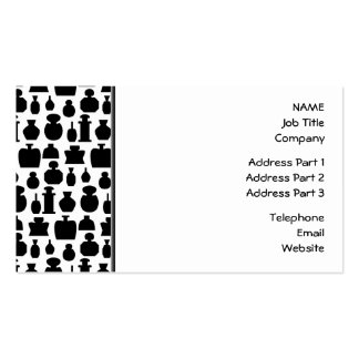 Black and White Perfume Bottle Pattern. Business Card Templates