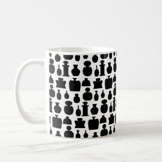Black and White Perfume Bottle Pattern. Coffee Mug