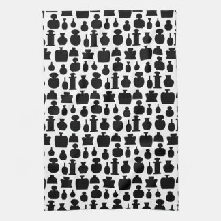 Black and White Perfume Bottle Pattern. Towel