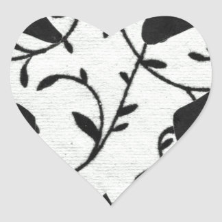Black and White Person Floral Gingerbread Man Heart Sticker