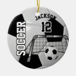 Black And White Personalize Soccer Ball Ceramic Ornament at Zazzle