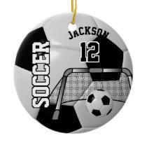 Black and White Personalize Soccer Ball Ceramic Ornament