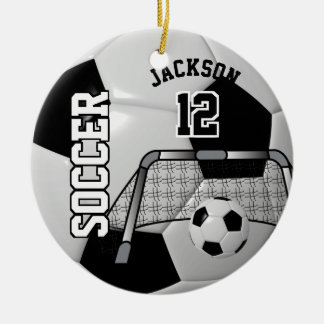 Black and White Personalize Soccer Ball Ceramic Ornament