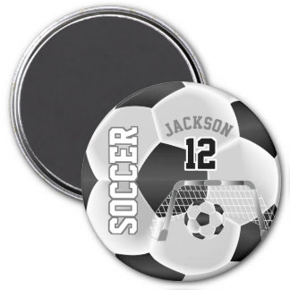 Black and White Personalize Soccer Ball Magnet