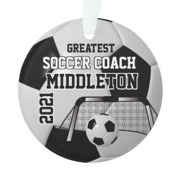 USA Themed Black and White Personalize Soccer Ball Ornament
