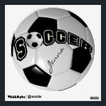 """Black and White Personalize Soccer Ball Wall Decal<br><div class=""""desc"""">Soccer Ball Wall Decal. When looking straight on at this digital designed soccer ball it will give you the realism of a real soccer ball. Look for more designs and colors in my store. 100% Customizable. Ready to Fill in the box(es) or Click on the CUSTOMIZE button to add, move,...</div>"""