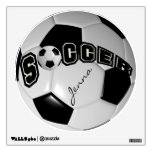 Black and White Personalize Soccer Ball Wall Decal<br><div class='desc'>Soccer Ball Wall Decal. When looking straight on at this digital designed soccer ball it will give you the realism of a real soccer ball. Look for more designs and colors in my store. 100% Customizable. Ready to Fill in the box(es) or Click on the CUSTOMIZE button to add, move,...</div>
