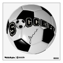 Black and White Personalize Soccer Ball Wall Decal