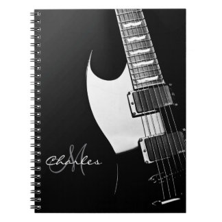 Black and White Personalized Guitar Music Notebook
