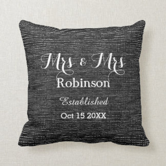 Black And White Personalized Lesbian Wedding Throw Pillow