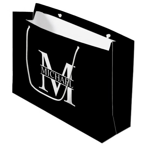 Black and White Personalized Monogram and Name Large Gift Bag