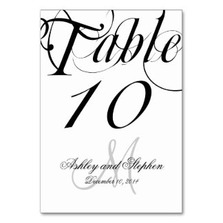 Black and White Personalized Wedding Table Cards
