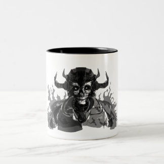 Black and White Personification of Death Two-Tone Coffee Mug