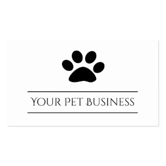 black and white pet paw print business card