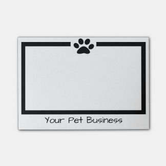 black and white pet paw print post-it notes