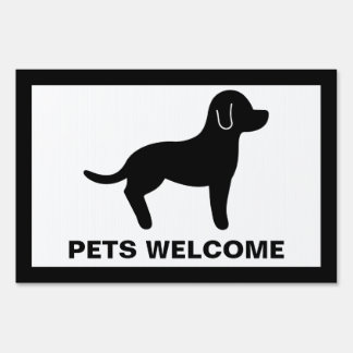 Black And White Pets Welcome Lawn Sign