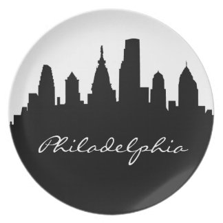 Black and White Philadelphia Skyline Melamine Plate