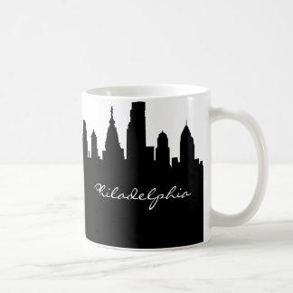 Black and White Philadelphia Skyline Classic White Coffee Mug