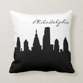 Black and White Philadelphia Skyline Throw Pillows