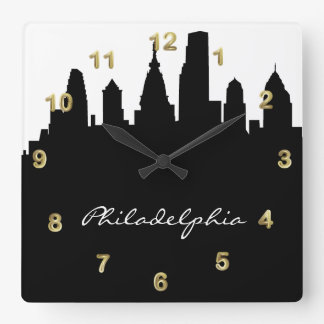 Black and White Philadelphia Skyline Square Wall Clock