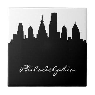 Black and White Philadelphia Skyline Small Square Tile