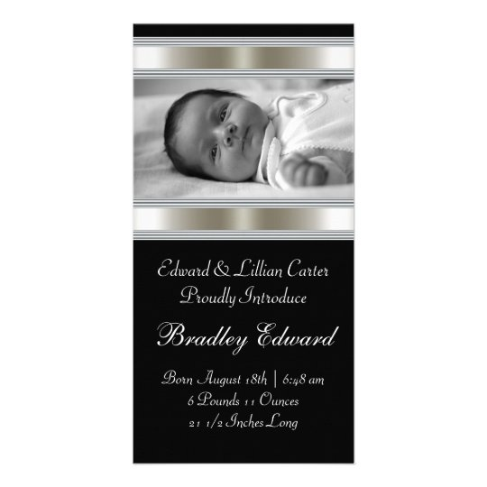 Black and White Photo Baby Birth Annoucements Card