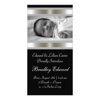 Black and White Photo Baby Birth Annoucements Photo Greeting Card