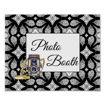 Wedding Themed Black and White Photo Booth Wedding Sign Poster
