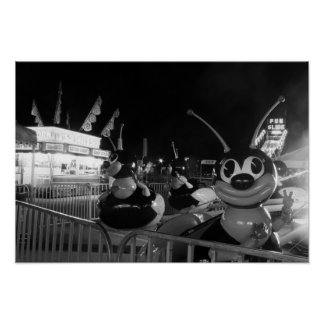 Black and White Photo Carnival Bee Ride Poster