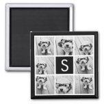 Black and White Photo Collage Custom Monogram 2 Inch Square Magnet