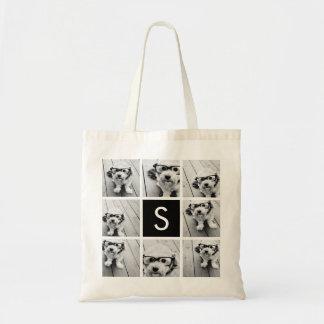 Black and White Photo Collage Custom Monogram Tote Bags