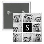 Black and White Photo Collage Custom Monogram 2 Inch Square Button