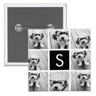 Black and White Photo Collage Custom Monogram Button