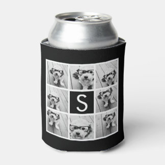 Black and White Photo Collage Custom Monogram Can Cooler