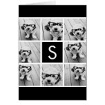 Black and White Photo Collage Custom Monogram Greeting Cards