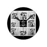 Black and White Photo Collage Custom Monogram Round Wall Clock