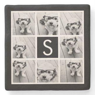 Black and White Photo Collage Custom Monogram Stone Coaster