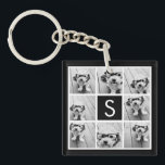 "Black and White Photo Collage Custom Monogram Keychain<br><div class=""desc"">You can use Instagram photos for this design. Use 8 square photos to create a unique and personal gift. Or you can keep the hipster puppy and make a trendy keepsake. If you need to adjust the pictures,  click on the customize tool to make changes.</div>"