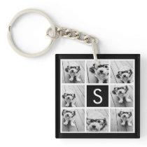 Black and White Photo Collage Custom Monogram Keychain