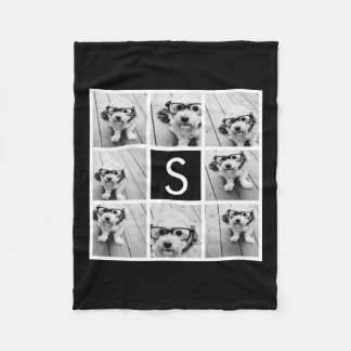 Black and White Photo Collage Custom Monogram Fleece Blanket