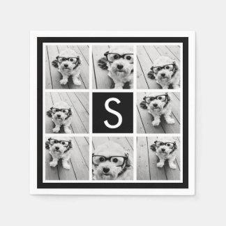 Black and White Photo Collage Custom Monogram Napkin