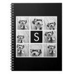 Black and White Photo Collage Custom Monogram Spiral Note Book