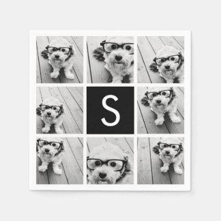 Black and White Photo Collage Custom Monogram Paper Napkin